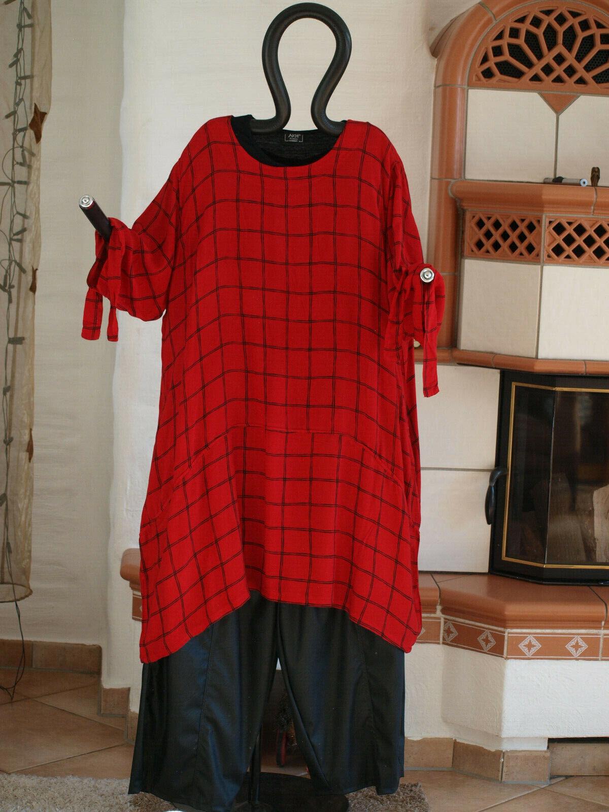 1840 LABASS Lagenlook Big Shirt Ballonform schwarz rot kariert Gr. XXL 52 54
