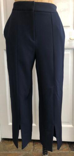 Topshop Donna Cropped Gamba Larga Split Anteriore Pantaloni Blu scuro NUOVO CON ETICHETTA GRATIS P/&P