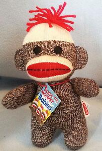 Schylling-Brown-SOCK-MONKEY-BABY-7-5-034-Plush-Doll-Stuffed-Toy-Lovey-New