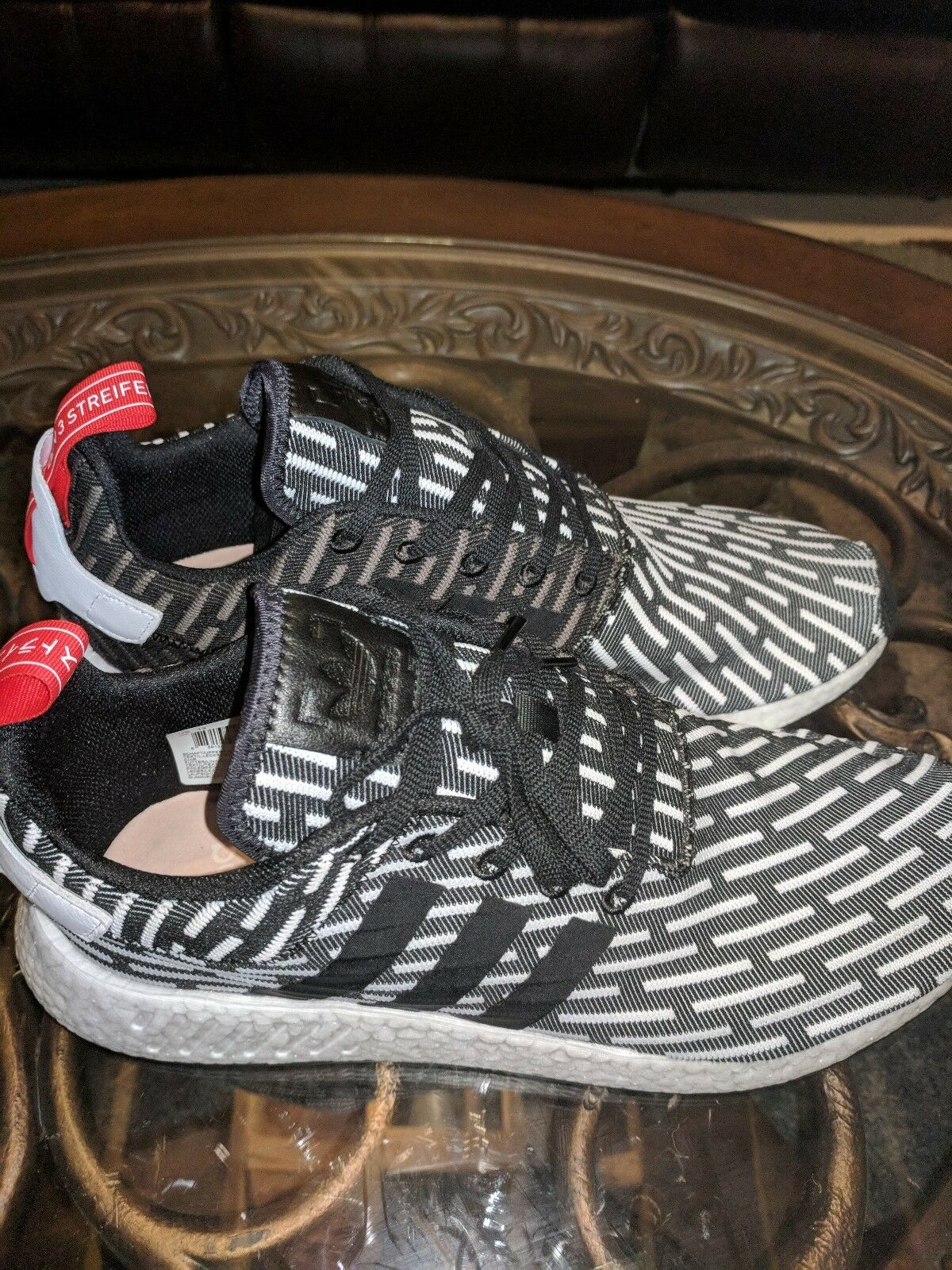 Adidas NMD_R2 PK Black White Red Grey Size 13