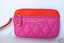 Vera Bradley Sophie Magenta Quilted Magenta Pink Orange Leather Wristlet Wallet