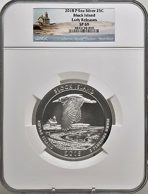 2018-P 5oz SILVER 25C Block Island NGC SP 69 Early Releases must see!