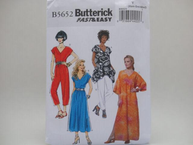 Butterick Sewing Pattern B5652 Top Dress Caftan Pants Jumpsuit XS ...