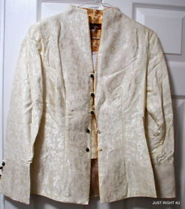 76e377723e02 Details about Japanese Silver Dragon (Womens L Cream with Gold Trim) JACKET  100% Silk