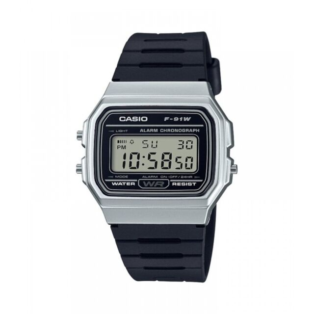 Casio F-91WM-7AEF Casual Digital Watch with Black Rubber Strap & Silver Plate...