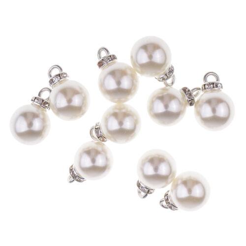 10pcs Pearl Rhinestone Pendants Charms for DIY Jewelry Craft Making 12mm