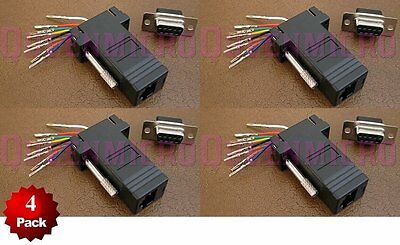 DB9 Female to RJ45 Modular Adapter Connector Plug Serial RS-232 Black 4 Pack