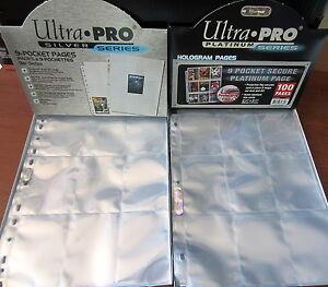 Lot-de-50-PAGES-ULTRA-PRO-pour-CLASSEUR-9-pochettes-de-rangement-par-feuille