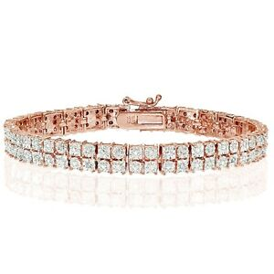 Rose-Gold-Tone-0-25ct-Natural-Diamond-Miracle-Set-2-Row-Tennis-Bracelet-in-Brass