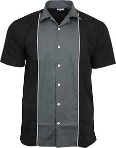 Relco-Homme-Gris-amp-Noir-bowling-shirt-rockabilly-retro-50-S-CLUB-SWING-Lounge