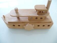 *Selten XXL Holz Schiff Schaufelrad Dampfer 36 x 16 cm auf Rollen viele Details