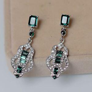 Image Is Loading Costume Earrings Studs Silver Chandelier Art Deco Green