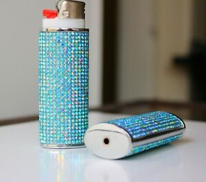 Luxury-Bling-Aquamarine-AB-Crystal-Bic-Lighter-Case