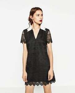 6bf4a4075 Image is loading ZARA-BLACK-LACE-GUIPUIRE-DRESS-WHITE-COLLAR-CROCHET-