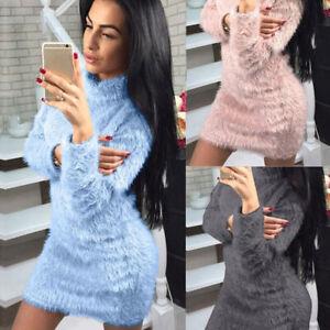 Sweater-Dress-Womens-Bodycon-Pullover-High-Neck-Mini-Long-Dress-Fleece