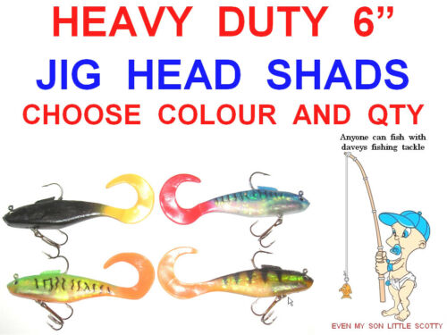 "HEAVY DUTY 6/"" CURLY TAIL JIG HEAD PIKE SHAD SEA COARSE FISHING JERK BAIT LURES"