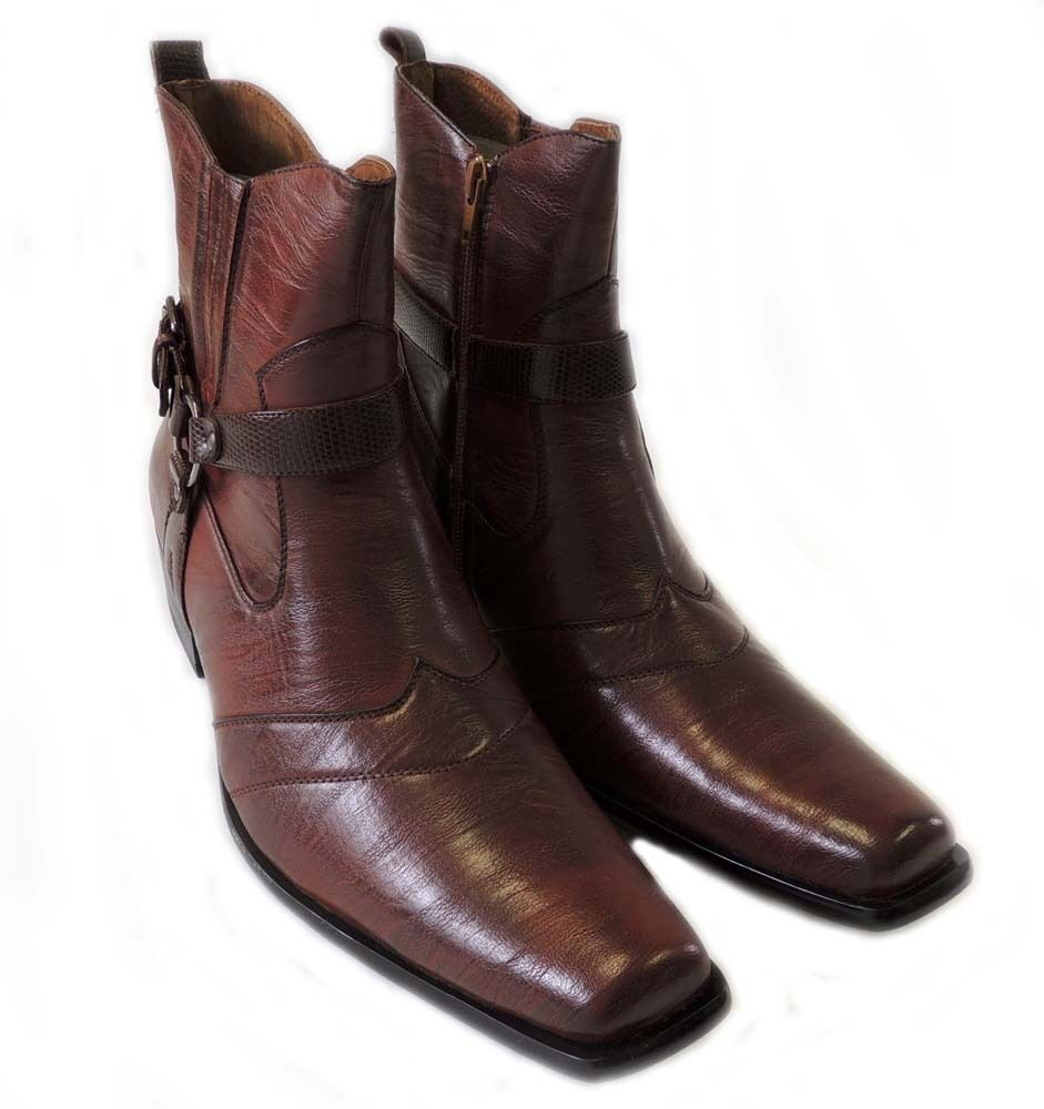 NEW ANKLE PREMIUM CASUAL MENS HIGH ANKLE NEW BOOTS LEATHER ZIPPERED  DRESS SHOES / BROWN d43956