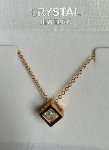 SISTER** HEART CUBOID CRYSTAL DIAMOND PENDANT NECKLACE LOVE **GIFT FOR HER,WIFE