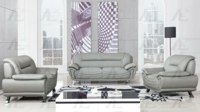 Gray Sofa Loveseat and Chair Faux Leather Set 3Pcs American Eagle AE388-GR