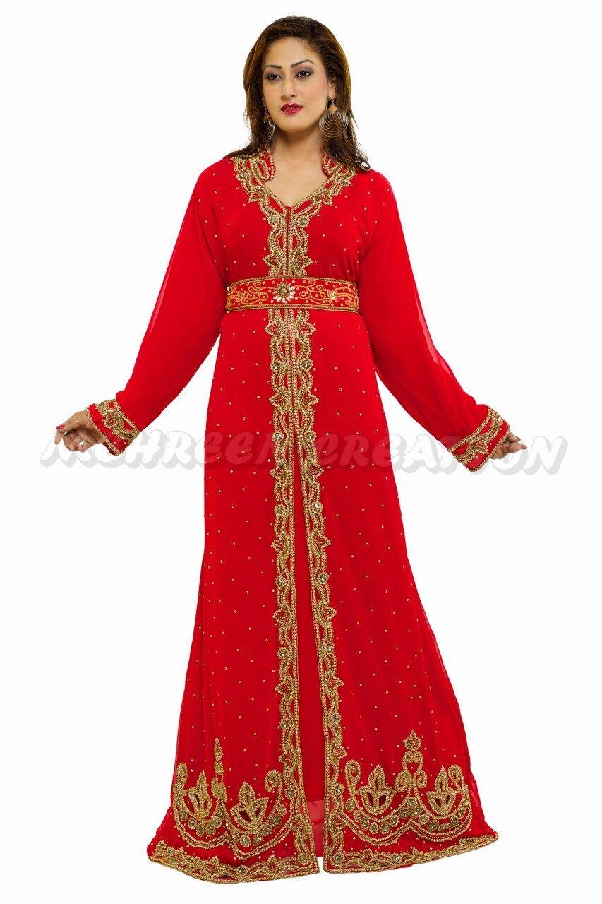 DUBAI KAFTAN MAHRIBI WEDD GON JALABIYA DRESS AV MEHREEN CREATION 1008
