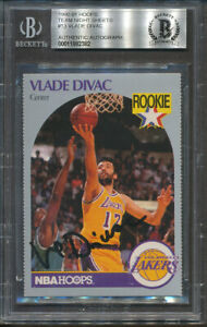 1990-91 Hoops Team Night Sheets #13 Vlade Divac Beckett Authentic Signed *2382