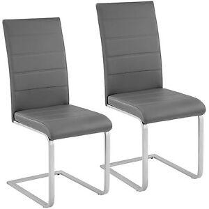 2x-Esszimmerstuhl-Freischwinger-Stuhl-Set-Stuehle-Polsterstuhl-Schwingstuhl-grau