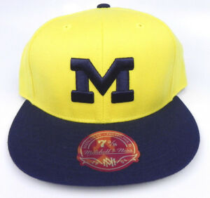MICHIGAN-WOLVERINES-MITCHELL-amp-NESS-2-TONE-NCAA-VINTAGE-FITTED-SIZED-CAP-HAT-NEW
