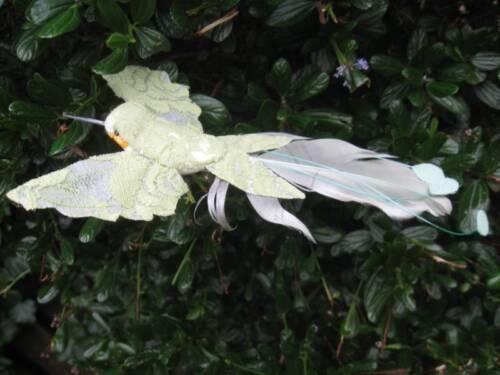 Vert olive artificielle oiseau plume fredonnant avec revêtement dentelle