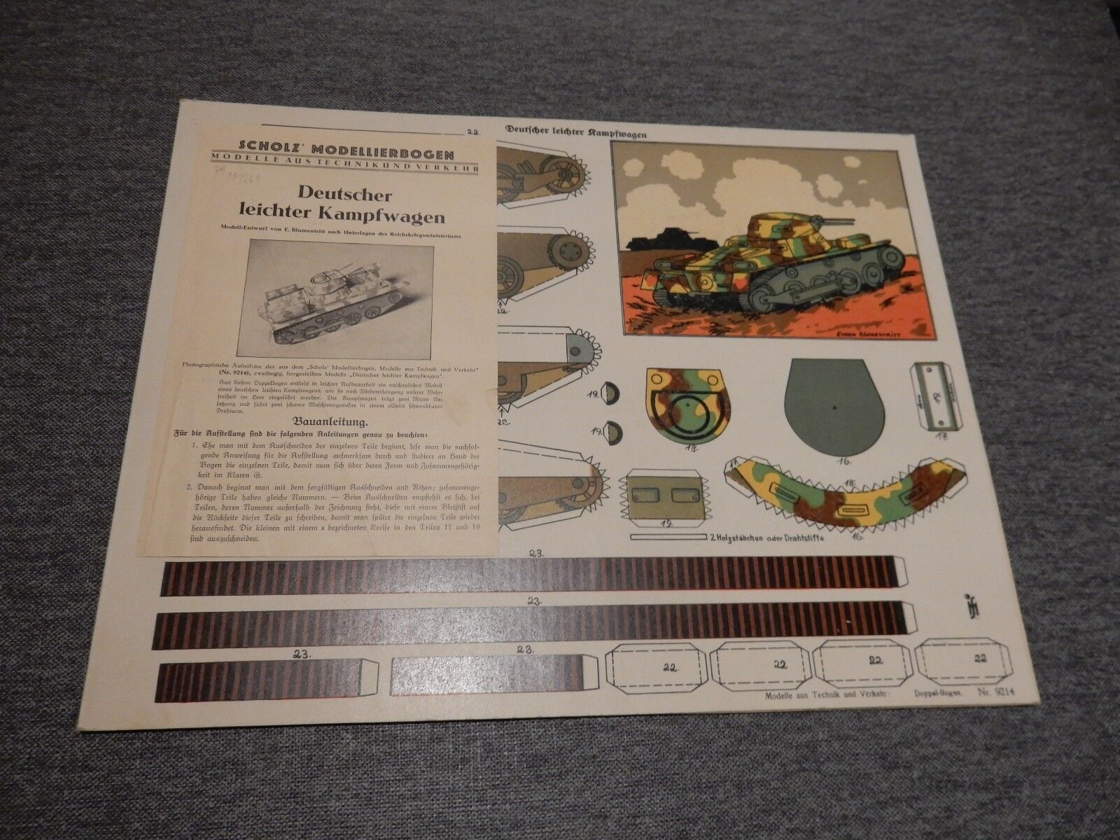 Leichter Kampfagen TANK SHOLZ PAPIER model origineel compleet bij mint