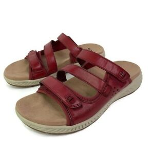 Earth-Womens-Mira-Loures-Slide-Sandals-Red-Adjustable-Strap-Slip-Ons-8-5-New