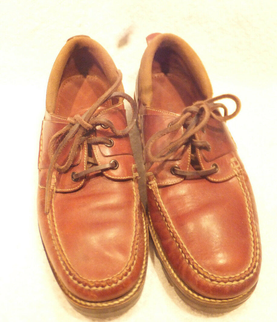 Men's Cole Haan Light Brown Leather Handsewn Heavy Duty Boat shoes Size 9 M