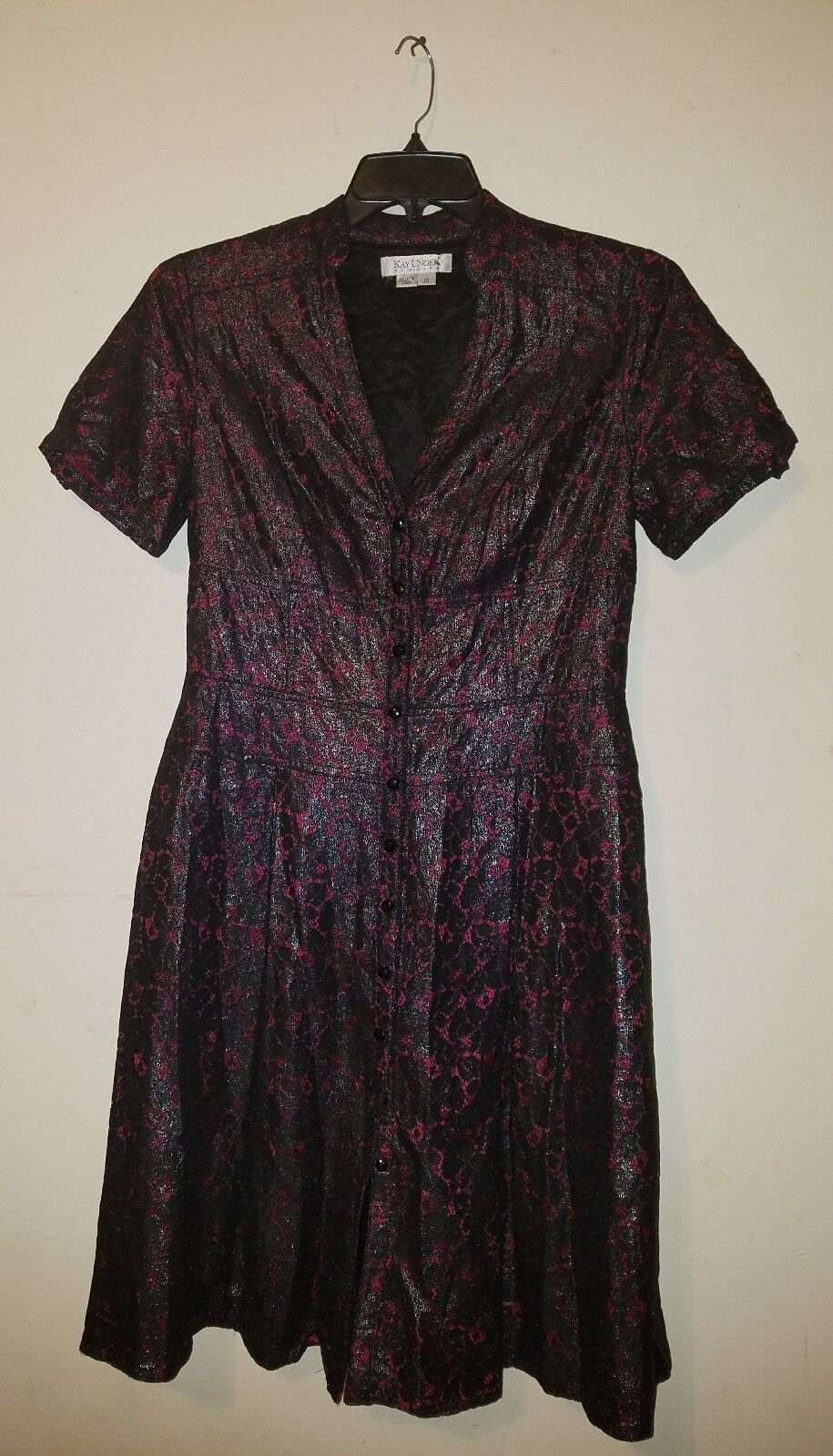 Kay Unger New York  Fit and Flare schwarz rot Lace Button-down Shirt Dress Größe 12