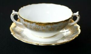 Beautiful-Coalport-Hazelton-Grey-Cream-Soup-Bowl-With-Saucer
