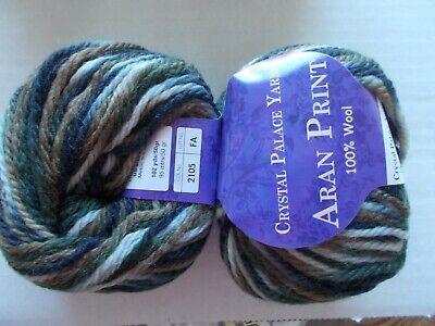 102 yds each Beige//pink//orange lot of 2 Crystal Palace Aran Print 100/% wool