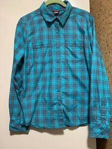 NWOT-The-North-Face-Women-039-s-M-Plaid-Long-Sleeve-Button-Front-Shirt-Turquoise