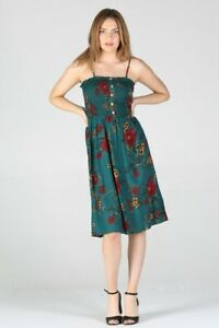 NWT Angie Smocked Teal Floral boho Summer Sun Midi beach Dress S/M/L