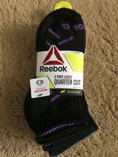 Details about  /Womens Reebok Quarter Cut Socks 6 Pair Shoe Size 4-10