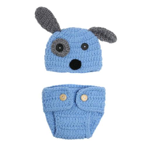 VS2# 2pcs Newborn Baby Crochet Knit Briefs+Dog Shape Hat Photo Props Outfits