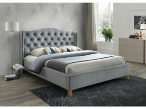 Polsterbett Doppelbett Grau Stoff Samt 160x200 Schlafzimmer Bett ...