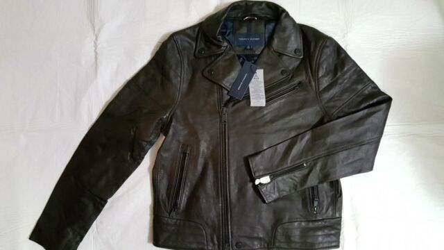Tommy Hilfiger Men's Fall Basic Brown Leather Moto Jacket Size S
