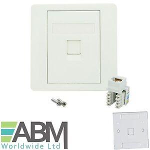 RJ45 Face Plate Wall Socket Cat5e Ethernet Single Gang 1 Port with Keystone Jack