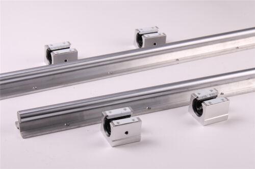 2Pcs SBR20 rieles lineal totalmente compatibles con Varilla de eje de 300-1500 mm 4Pcs SBR20UU