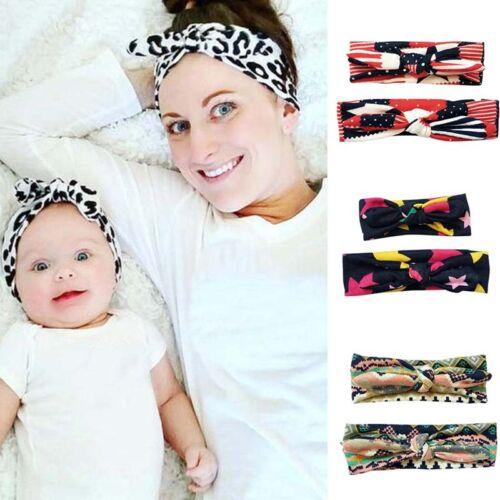 2pcs Baby Mädchen/& Mom Turban Knoten Stirnband Bogen-Headwear Haarband 2018 Stil