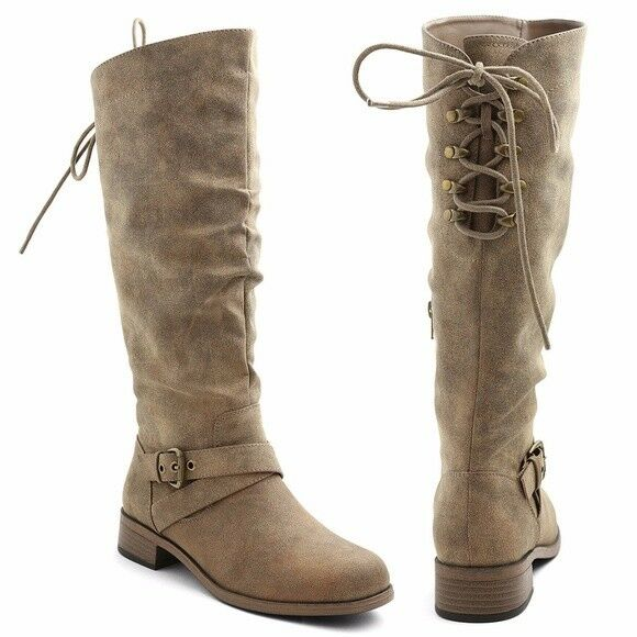 NIB - XOXO FOOTWEAR 'TAUPE MADRID' Women's Brown Knee Boots - 8