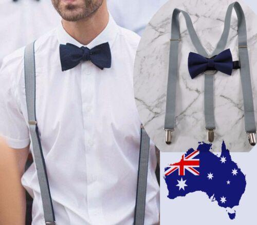 MEN 25mm GREY BRACES SUSPENDERS 100/% Cotton Navy Blue Bow Tie Bowtie Wedding Set