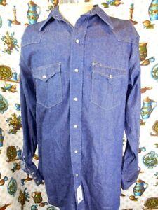 1970s Roebucks Pearl Snap PurpleBlue Flannel Button Down Shirt Grunge Western Wear Country Farm Large