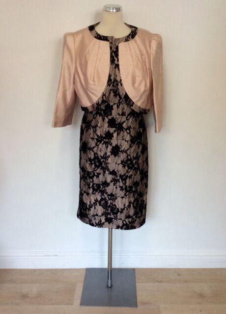 Condici Light Pink Silk Black Lace Dress Jacket Size 20 Ebay