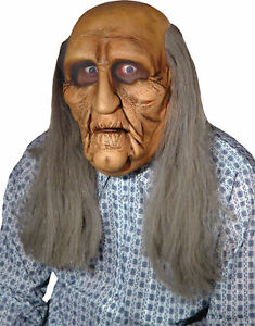 old man realistic full head latex with long stringy hair seasonal