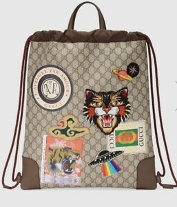 0325520ff24 Image is loading Gucci-Courrier-Soft-GG-Supreme -Drawstring-Backpack-Authenticity-