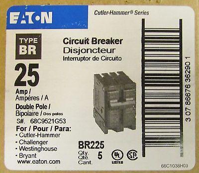 BR225 Cutler hammer Circuit Breaker 2 Pole 25 Amp 120//240V NEW!!!